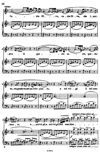 Ноты Casta Diva для фортепиано и голоса PDF